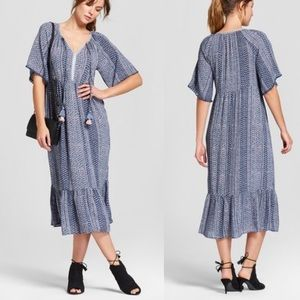 Knox Rose Boho Pom Trim Printed Midi Dress Blue XS